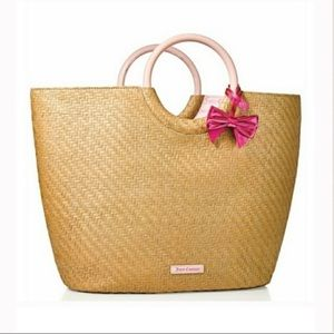Juicy Couture Straw Tote Circle Handles Pink Bow